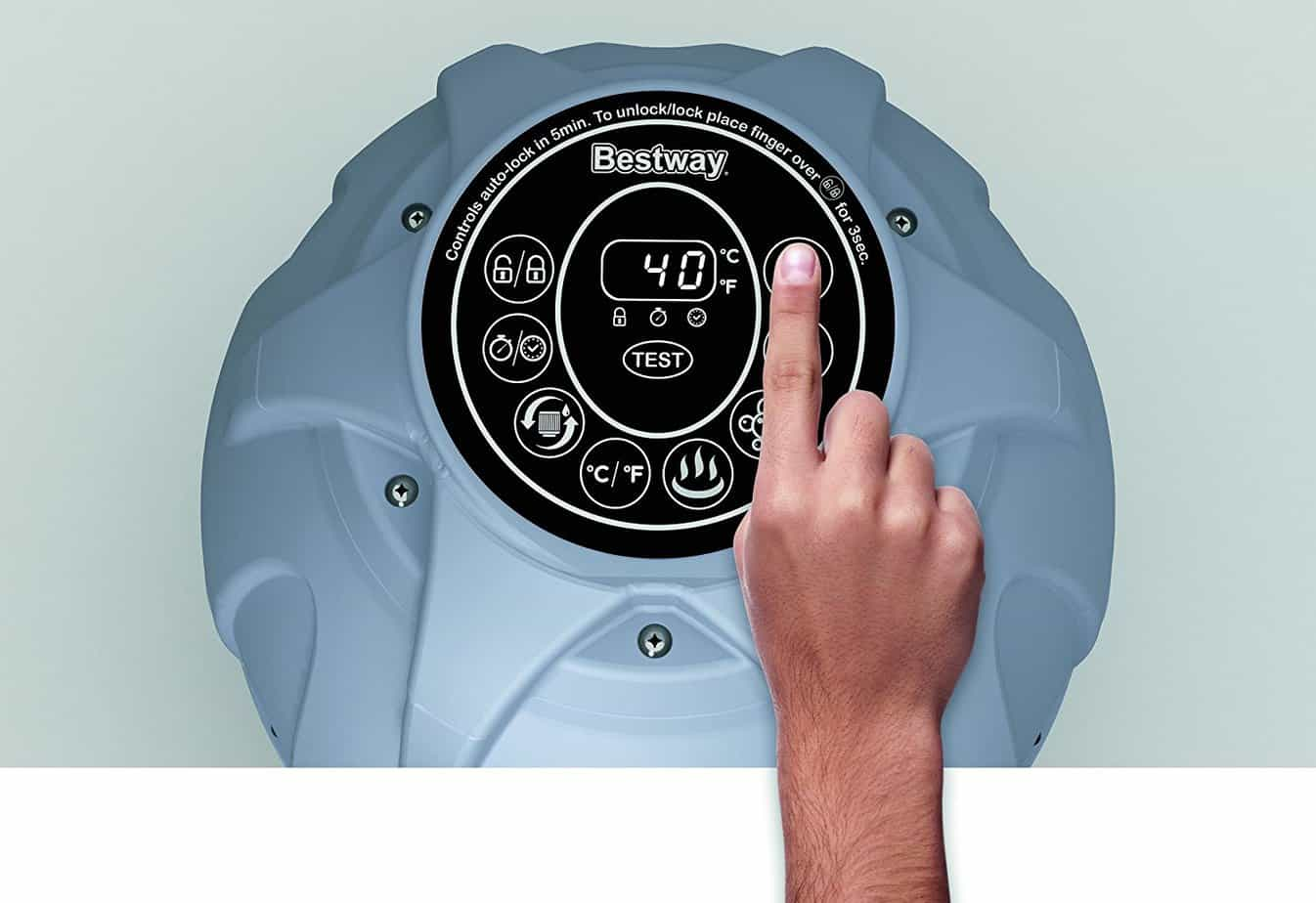 Lay-Z-Spa Miami inflatable hot tub touch screen controls
