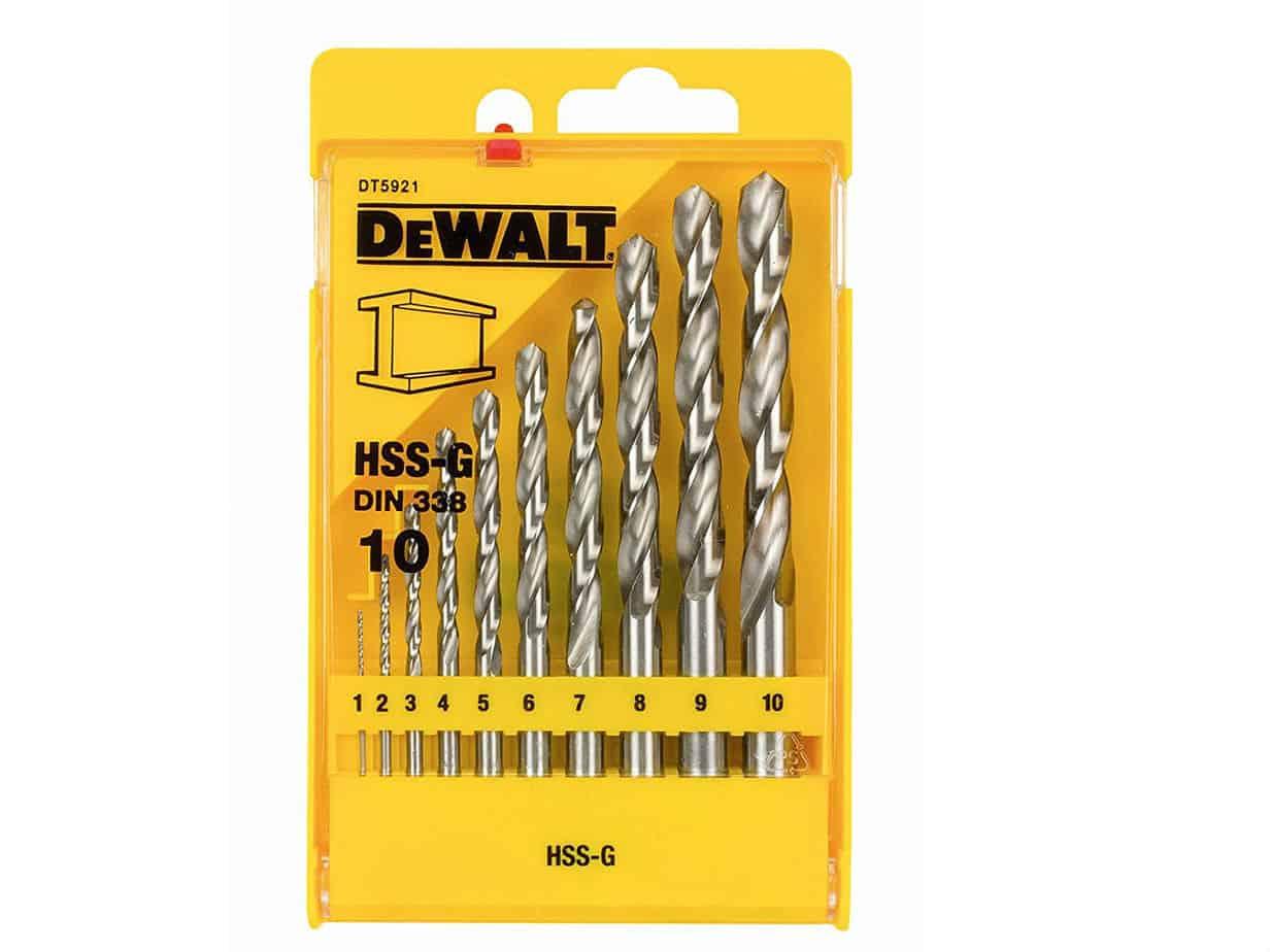 Dewalt hss g din 338 jobber metal drill bit sets 10 pieces