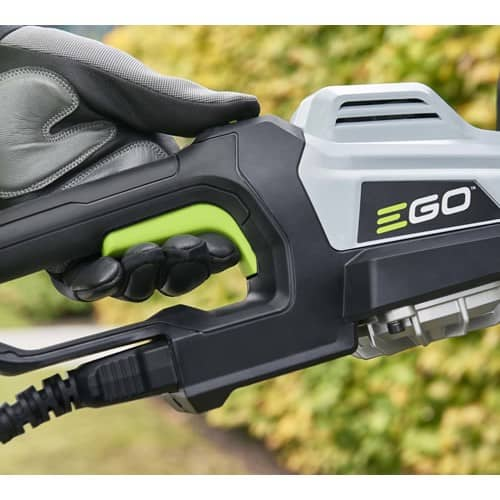 EGO Power + HTX7500 75cm Cordless Hedge trimmer connected to charger