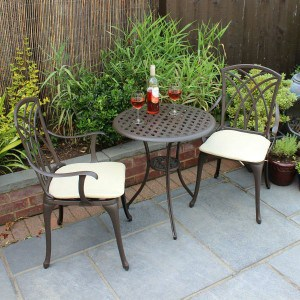 Bentley Garden Furniture 3 Piece Cast Aluminium Bistro Set Table & 2 Arm Chairs Review