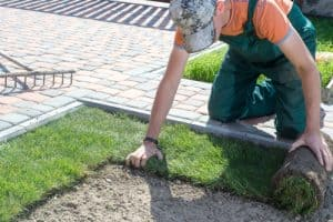 Lawn edging made from brick pavers