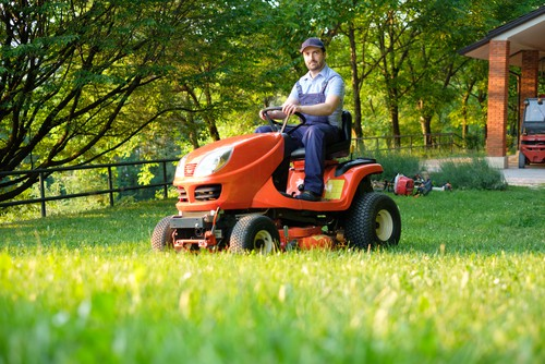 Starting a ride on lawn mower