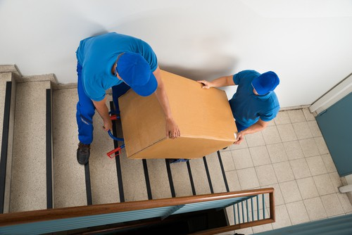 sack truck being used on stairs