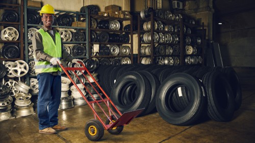 sack ruck in tire warehouse