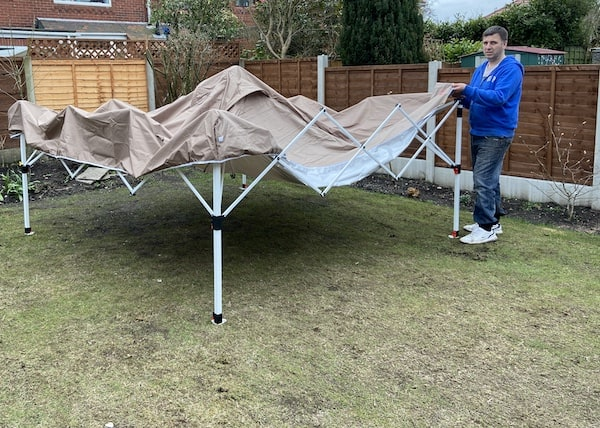 Putting canopy onto MasterCanopy gazebo ideal for areas which get windy