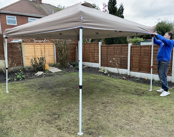 Securing wind proof canopy into mastercanopy