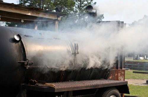 Hot BBQ smoker with white smoke