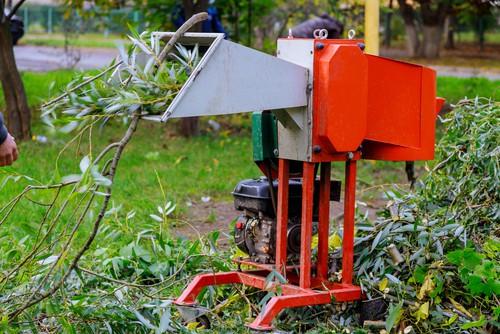 Petrol shredder in use