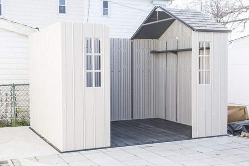 Plastic shed being build