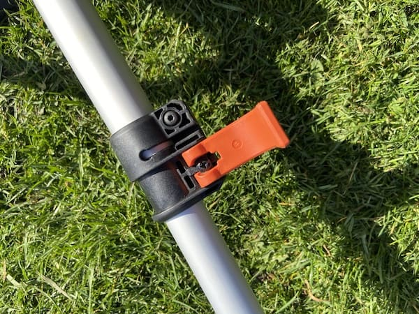 Quick release clip to change shaft length for storage and for finding the best position for you