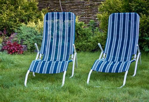 Garden recliners in garden