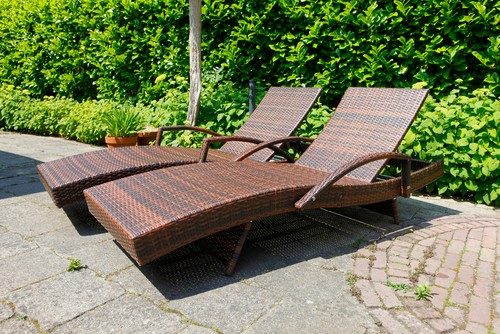 pair on sun loungers in garden