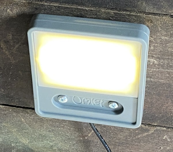 Optional chicken coop light, can be set to come on 5 minutes before door closes to encourage chickens into coop