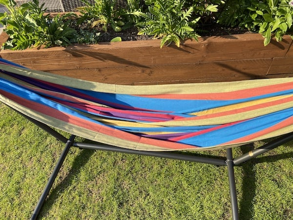 Close up of the 100% cotton hammock