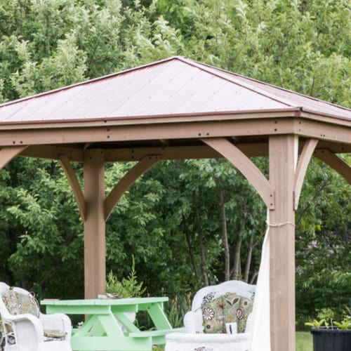 Gazebo root design for windy sites