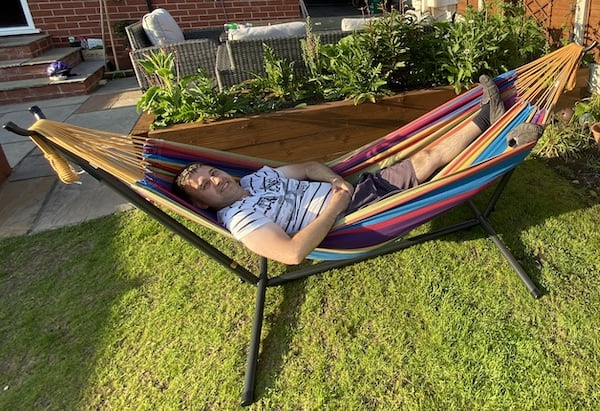The Vivere hammock being tested for durability and comfort