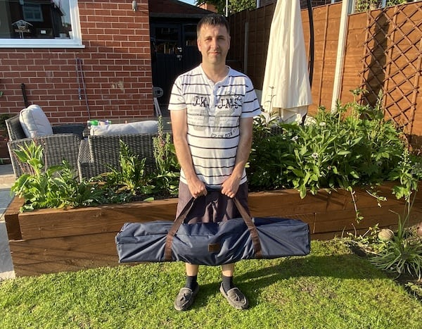 Vivere garden hammock all folded down and packed into carry back