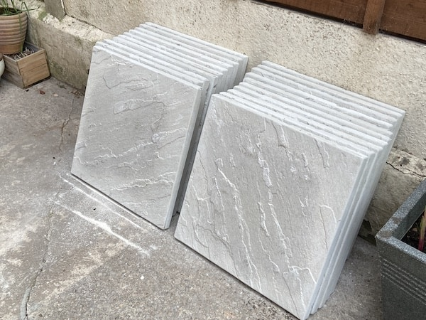 44cm x 42cm paving flags used to build greenhouse base