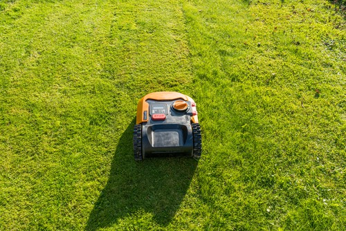 Lawn mowers mowing and keeping within the boundary wire it can sense and now cross