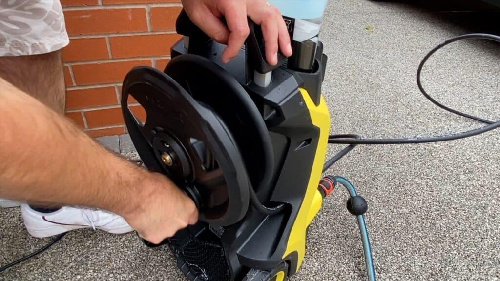 Built-in hose reel on Karcher K5 Premium models