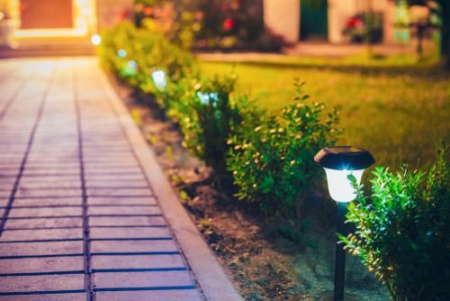 Solar garden lights used to highlight path